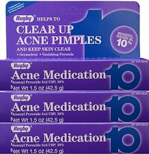 Rugby ACNE Benzoyl Peroxide 10% Gel 1.5oz Generic for Oxy Balance ( 3 tubes )