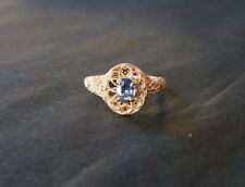 .14ct 14k Yellow Gold Filigree Natural Blue Ceylon Sapphire Ring NEW Size O 1/2