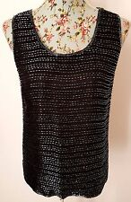 AFTER SIX ROLAND JOYCE designer black SILK BEADED VENT HEM sleeveless top 18 46