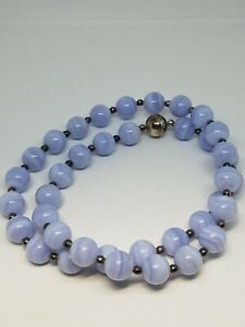 QVC Milor Italy Sterling Silver 12mm Blue Lace Agate Magnetic Clasp Necklace