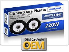 """Citroen Xsara Picasso Puerta Frontal Altavoces Alpine 17cm de 6.5 """"altavoz para automóvil Kit 220w"""
