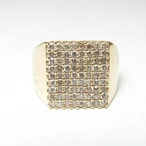 Mens Estate 10K Yellow Gold 72 Light Cognac Brilliant Cut Diamond Ring 1.25 Cts