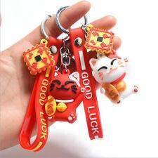 1Pc Cute Lucky Cat Key Chain PVC Keychain Maneki Neko Car Keyring Bag Pend Y1