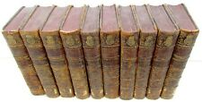 LOT OF 10 ANTIQUE NICE LEATHER BOUND 1763 HISTORY BOOKS
