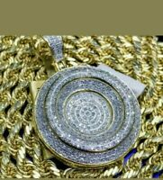 3.00 Ct Round Cut Diamond Medallion Pendant Pave Charm 14K Yellow Gold Finish