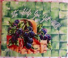 Vintage 1940s Unused Get Well Greeting Card Berry Basket & Dessert Recipe