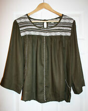 Lucky Brand Womens L Green / Ivory Baby Doll Top Shirt NWT