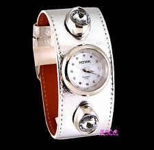 Retro Silver Leather Kahuna Luk Cyber Ladies Designer Cuff Watch w/ Crystals