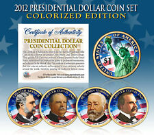 2012 Presidential $1 Dollar COLORIZED President 4-Coin Complete Set w/Capsules