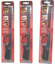 "3-Pack Click n Flame Multi-purpose BBQ Lighter - 10"" Long, Black/Red Color"