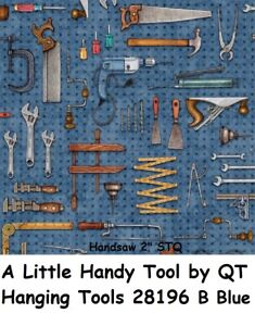 A Little Handy Tool cotton Quilt fabric by QT Hanging Tools 28196 W Denum Blue