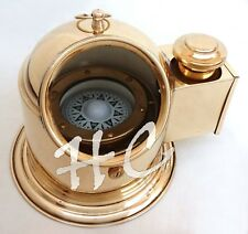 Polished Brass Ships Binnacle Compass Nautical Maritime Gimbelled With Oil Lamp