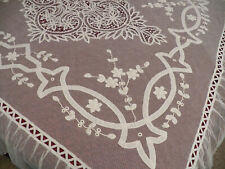 Vintage Antique French Tambour Cotton Embroidery Net Lace Bedspread Coverlet