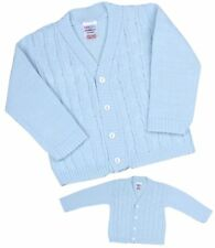 BabyPrem Baby Clothes Boys Traditional Knitted Blue Cable Cardigan Cardi 0-18 M 6-12 Months