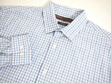 Perry Ellis Mens Shirt L Collared Long Sleeve Button Blue Checkered Slim Fit