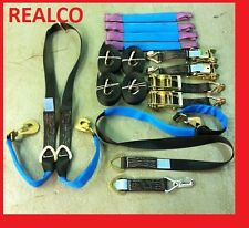 BLACK RECOVERY RATCHET STRAP KIT WINCH BROTHER 4X 4MTR WHEEL STRAPS