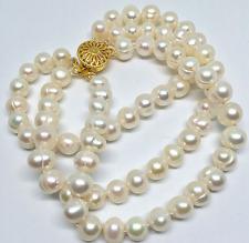 fashion 3 rows 8-9mm natural white freshwater pearl round beads women bracelet