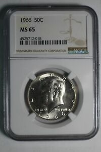 1966 Business Strike MS65 Kennedy Half Dollar NGC #18