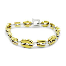 9ct Two Colour Gold Oval Square Ladies Bracelet 8mm 7.5 inch 16.31g RRP £579