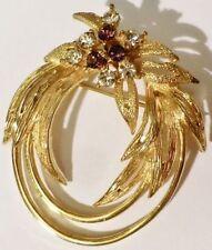Superbe broche bijou vintage couleur or cristaux diamant améthyste * 3352