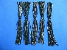 5 Silicone Skirts Black/silver Chrome  spinner bait bass lure jig fishing