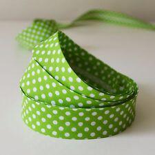 18mm Polka Dot Spotty Cotton Bias Binding Tape 3/4inch 1 2 or 3 Mtrs 1m Green