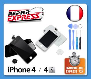 KIT COMPLET ECRAN LCD TACTILE+VITRE ARRIERE HOME POUR IPHONE 4 OU 4S NOIR BLANC