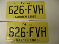 New Jersey NJ License Plate 626-FVH Pair