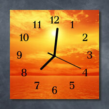 Glass Wall Clock Kitchen Clocks 30x30 cm silent Sun Orange