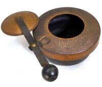 Ware Copper pan small tiny pot with sliding brass lid vintage