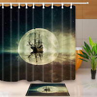 """Old Pirate Ship in the Sea Waterproof Fabric Shower Curtain Set Bathroom 71"""""""