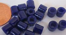 105 Very Old Czech Glass 6mm Shiny Deep Blue Tile Barrel Beads