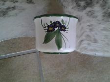 Blumentopf bemalt Keramik Veilchen 14 cm Durchmesser 11 cm hoch