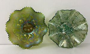 Green Carnival Glass Bowls Grapes Northwood Fruit Design Footed Dishes x2