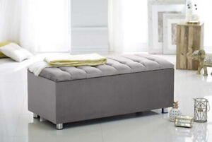 Large Ottoman Storage Blanket Box Upholstered Toy Chest Bedding Pouffe Footstool