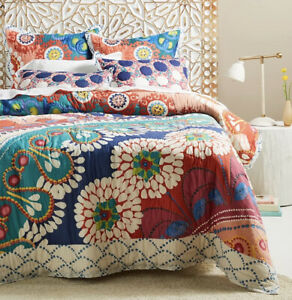 Anthropologie Queen Tahla Quilt Floral Colorful Green Orange *Flaws