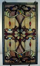 "Elegant Tiffany Stained Glass Metal-Weave Border Window Panel, 26"" x 15"""