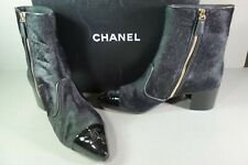 CHANEL 38 Black Calf Hair Patent Bootie Short Gold Ankle Boots Stacked Heel NEW
