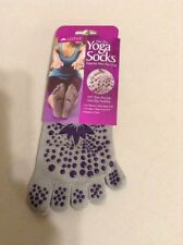Lotus Womens Gray with Purple Non-Slip Grips Yoga Socks Size 5-10