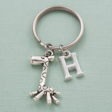 Giraffe keyring personalised gift birthday initial letter animal safari animal