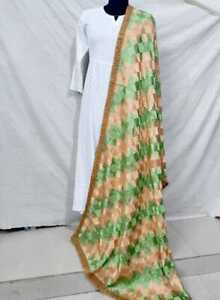 Indian Ethnic Full Jaal Phulkari Dupatta Embroidered Scarf Wrap In Green & Beige