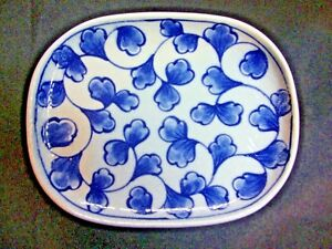 NEW Porcelain Ceramic Oval Plate White Blue Floral Design Home Decorative Plate