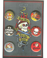 """DLR Dead Men Tell No Tales 6 Buttons Set A Skeletons """"It's a Pirate Life For Me"""""""