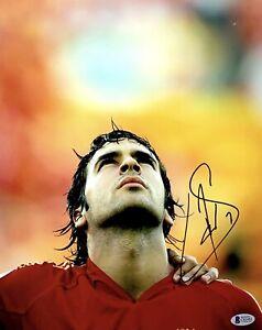 Raul Gonzalez Blanco Signed 11x14 Photo Beckett C82481 Soccer Spain