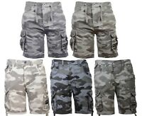 """New Mens Crosshatch Branded Canvas Cargo Camo Shorts With Pockets Waist 32""""-42"""""""