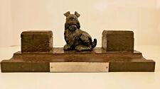 1941 WWII German Presentation Carved Black Forest Scottie Dog Inkwell w/ Plaque