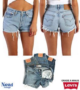 Vintage Levis High Waisted Denim Shorts Women Grade A Minus Size 6 8 10 12 14 16