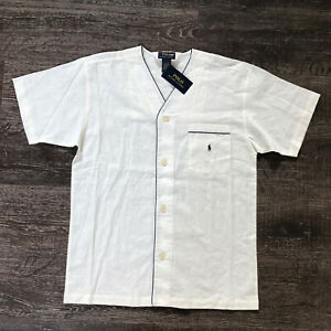 Polo Ralph Lauren Men's SS Sleep Off White Linen/ Cotton Shirt Pajama Top Sz M