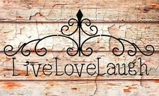 Stencil LIVE LOVE LAUGH Swirls Use for Signs Walls Borders Entryways