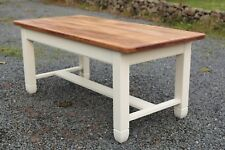 Hand Made Farm House Kitchen Table painted in Farrow & Ball New White
